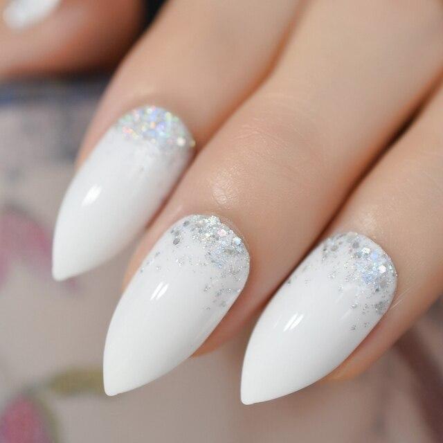 Ombre Glitter Fake Nails Stiletto Nail Sharper White Nails