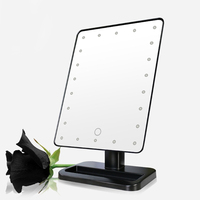 2017 22 LED Lights Vanity Makeup Mirror ABS Touch Screen Lighted Tabletop Cosmetic Mirror Fashion New