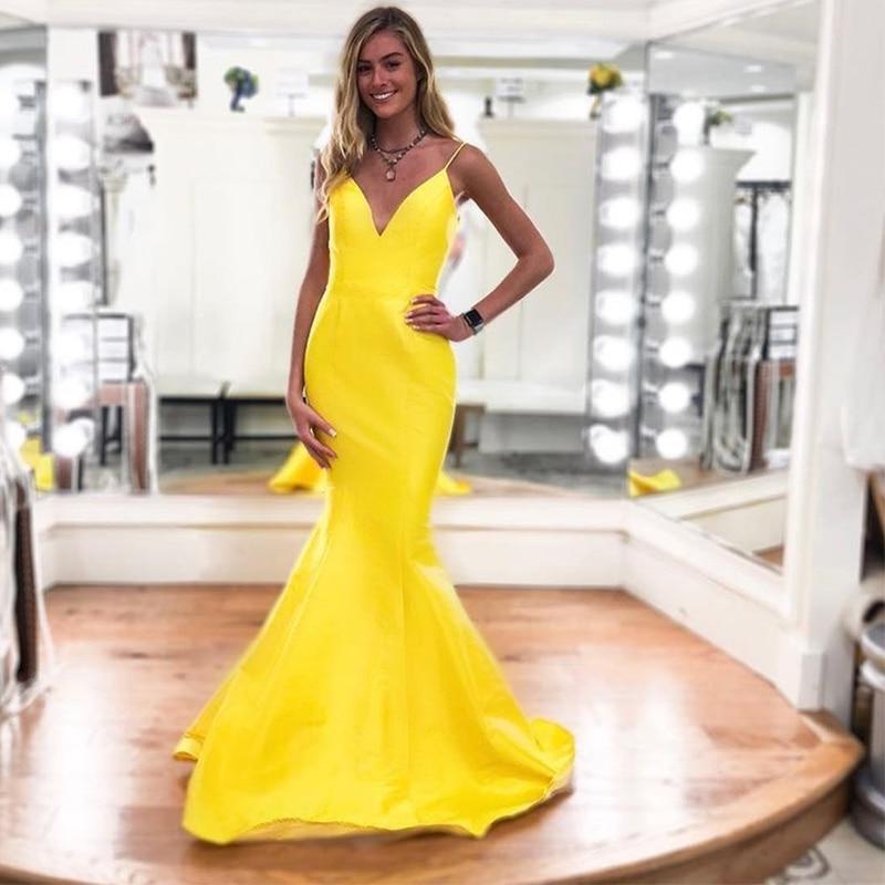 Robes De soirée sirène Simple col en v longueur De plancher jaune Satin bretelles Spaghetti Robe De soirée nouvelles femmes robes De soirée formelles