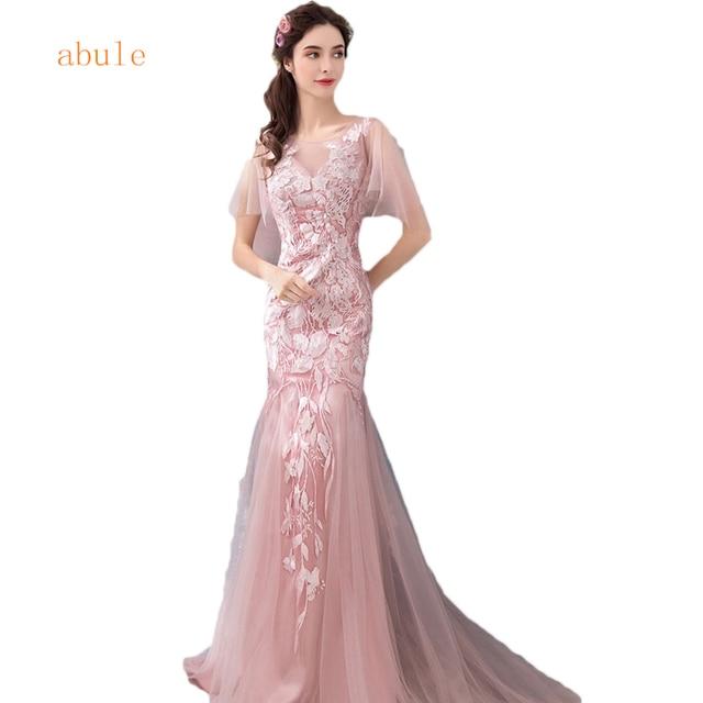 abule Evening Dresses sheer v neck Leaves lace up mermaid Elegant ...