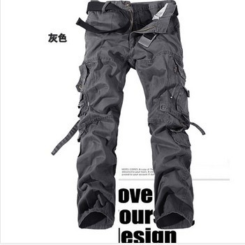 2017 Spring casual multi-pocket overalls pants male long trousers plus size pants Cargo Camo Combat Work Pants Trousers