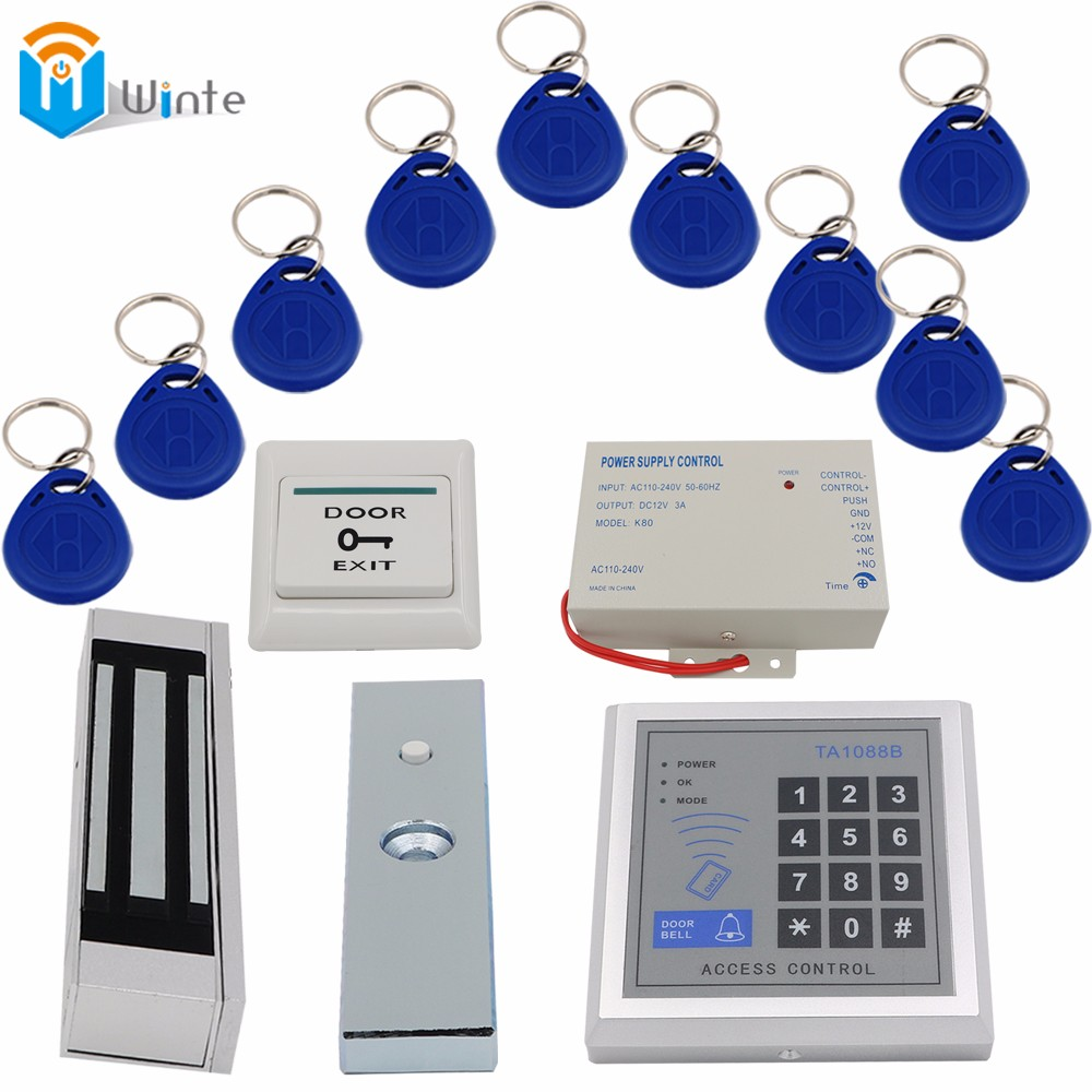 Access Control rfid System 1set 180kg Electric Magnetic Lock 10Pcs FOB Keys+1 pcs Card Reader+Power supply+Door exit switch rfid door access control system kit set with electric lock power supply doorbell door exit button 10 keys id card reader keypad