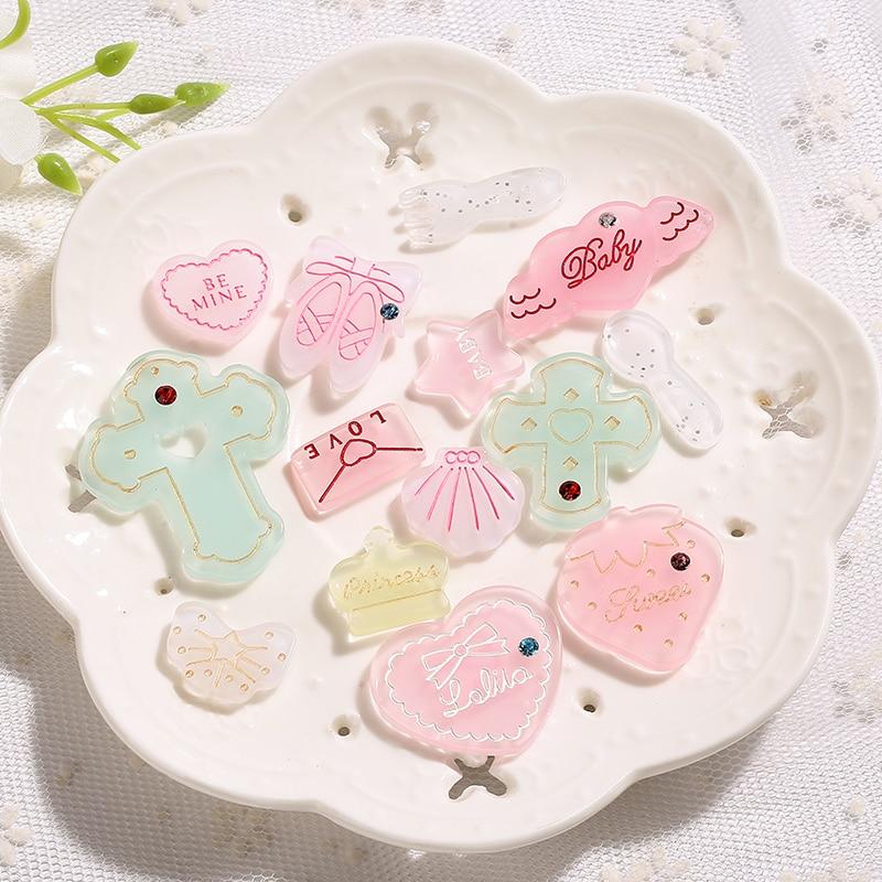 4pc Set Unicorn Star Heart and Moon Resin Flatback Cabochon Embellishmens Craft