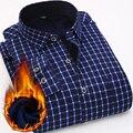 Masculino inverno além de veludo camisa xadrez espessamento térmico roupas impressão dos homens business casual camisas de lã chemise homme