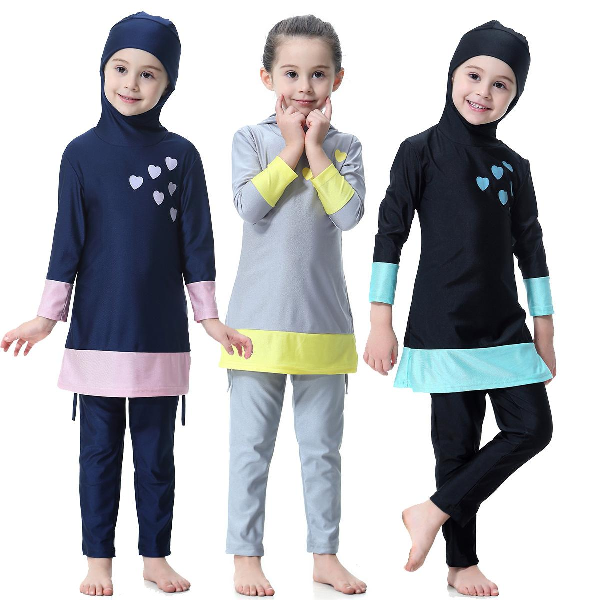 Cute Muslim Kids Girls Full Cover Swimwear Islamic Long Sleeve Arab Modest Swimsuits Swim Clothes Beachwear Children Suit Set New