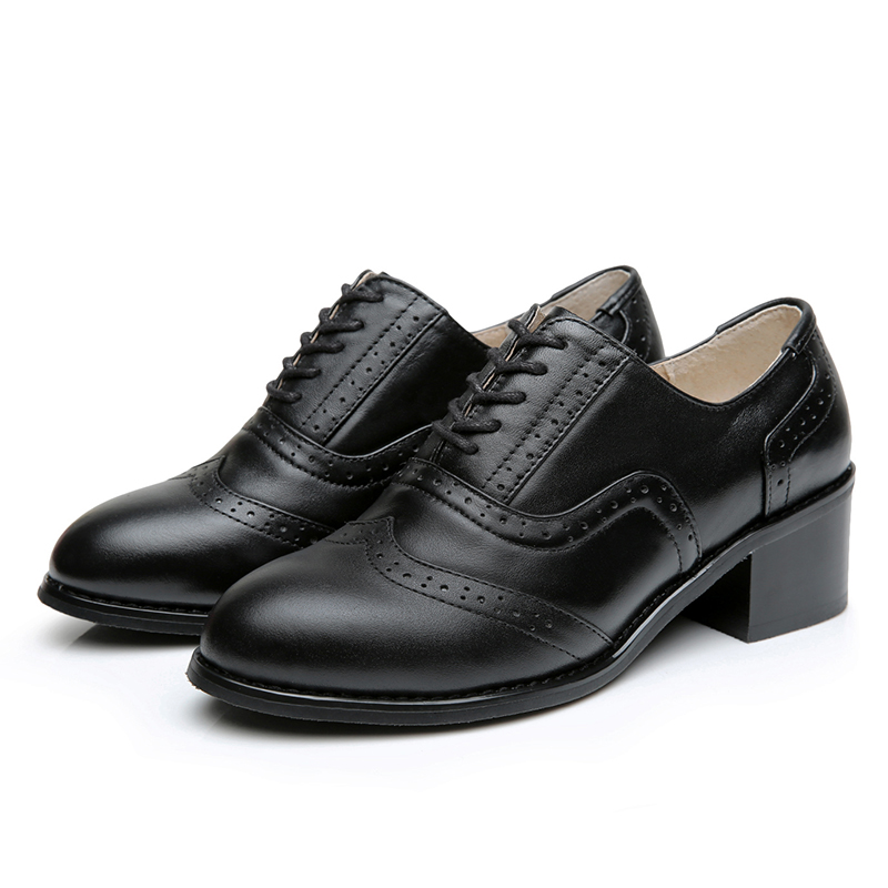 Brogue Boots Women Summer Genuine Leather Black Ankle Med Heels Lace Up Oxford Shoes Botas Feminina Chaussure Femme Talon flats oxford shoes for woman genuine leather custom made lace up black brogue shoes for women chaussures femme scarpe donna
