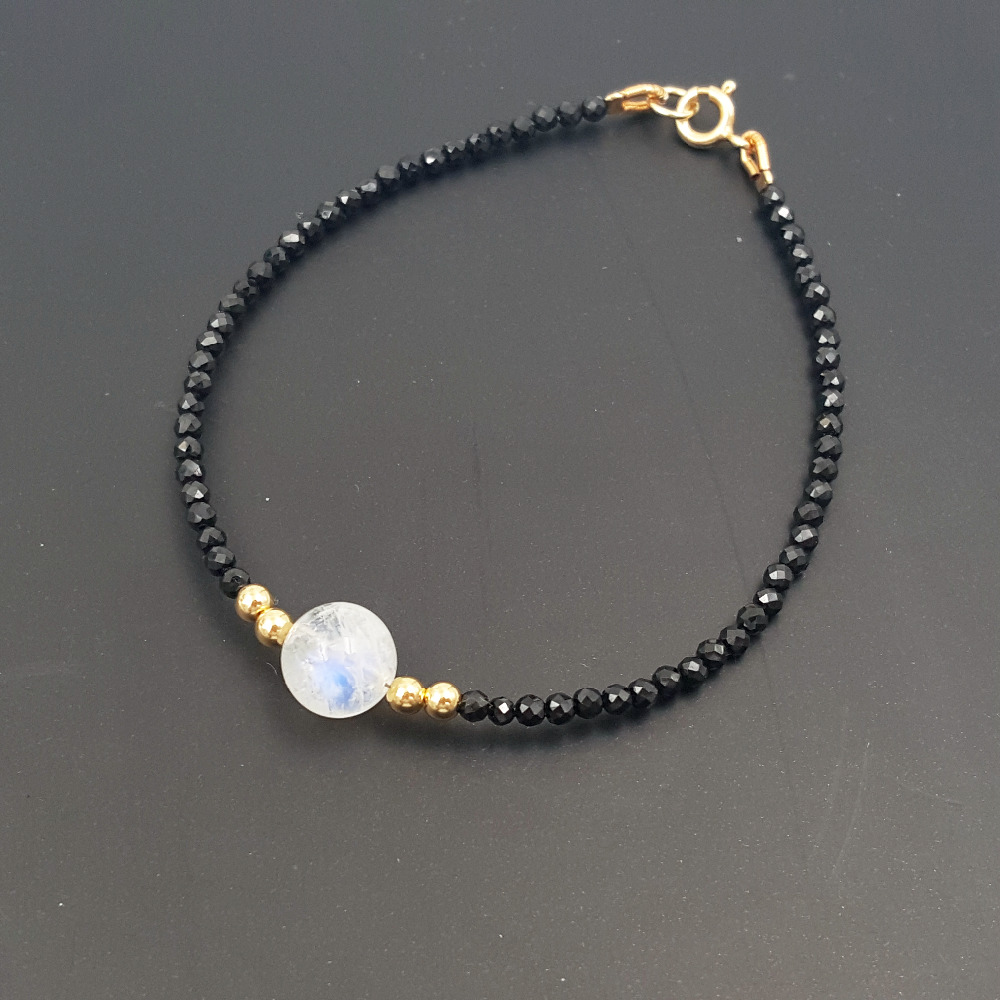 Lii Ji Gemstone Natrual Stone Black Spinel AAA Moonstone 925 sterling silver Gold Shining Bracelet (This Price only Bracelet)