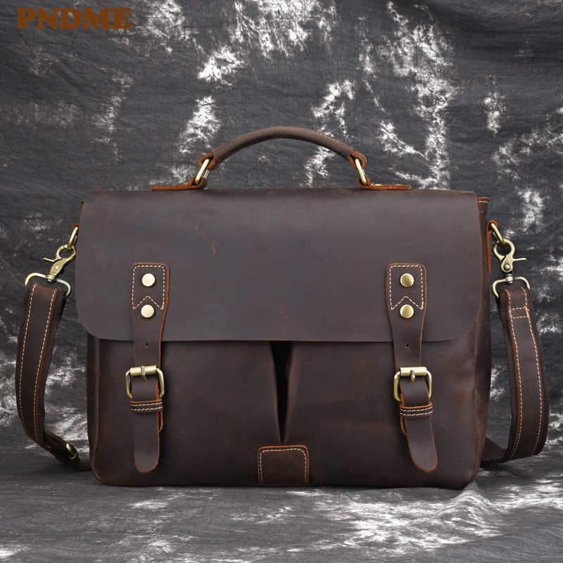 PNDME High Quality Crazy Horse Cowhide Men's Briefcase Retro Simple Designer Genuine Leather Laptop Bag Messenger Bags Hangbags