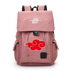 Image 2 - Anime Naruto Cartoon Canvas Backpack for Teenage Akatsuki Itachi Sharingan School Daypack Large Capacity Shoulder Bags Mochila