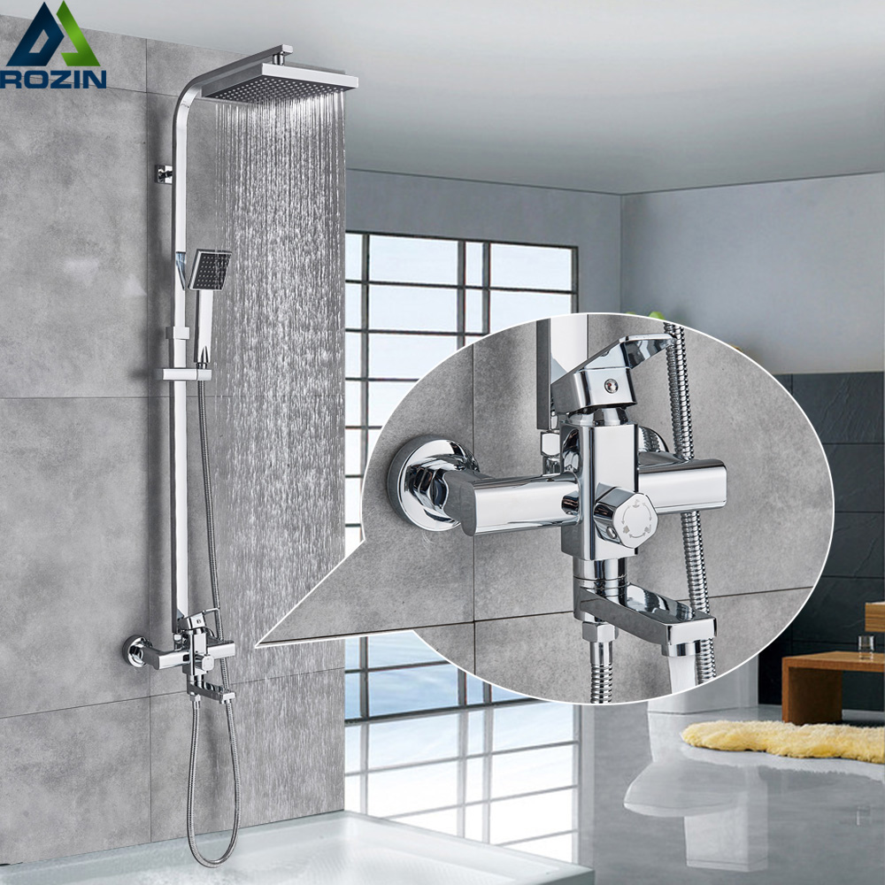Square Chrome Rainfall Bath Shower Mixer Faucet Set Wall Mounted with Hand Shower Swivel Tub Spout Shower Taps for Shower CabinSquare Chrome Rainfall Bath Shower Mixer Faucet Set Wall Mounted with Hand Shower Swivel Tub Spout Shower Taps for Shower Cabin