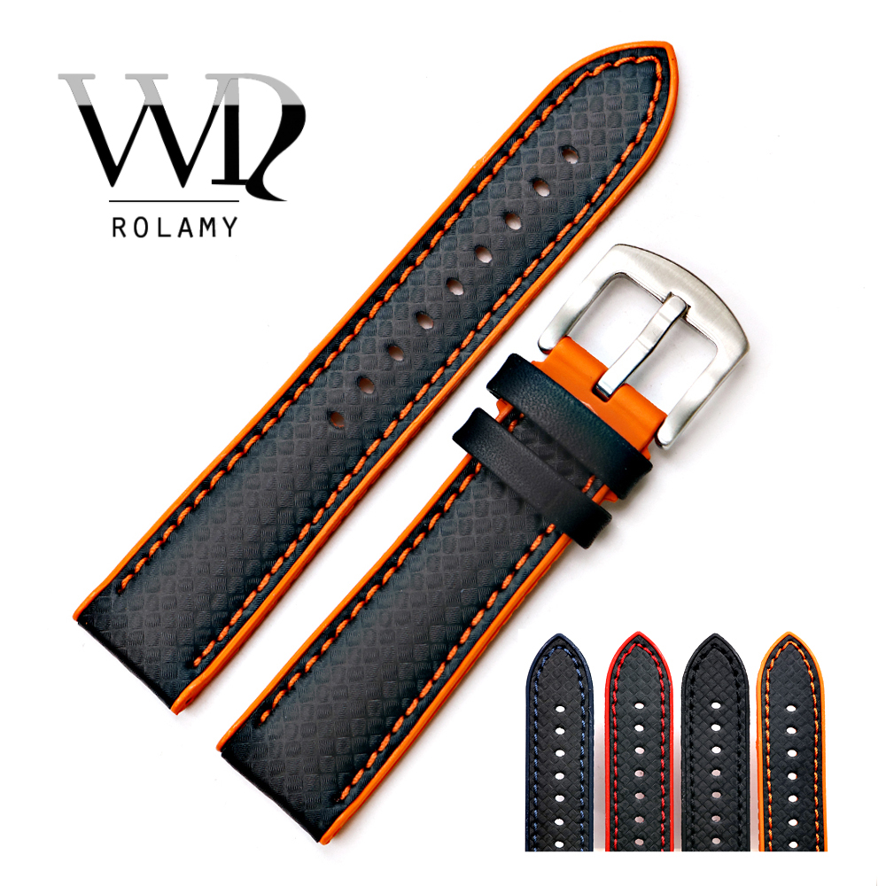 Rolamy Watch Band Strap 20 22mm Silicone Rubber Waterproof Watchbands For Dayjust Tudor Omega Replacement Belt