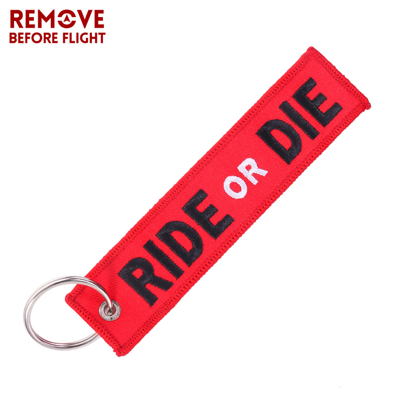Fashion Key Holder Chain For Motorcycle RIDE OR DIE Keychain Jewelry Embroidery Key Tag Aviation Gift Llavero Key Ring For Cars