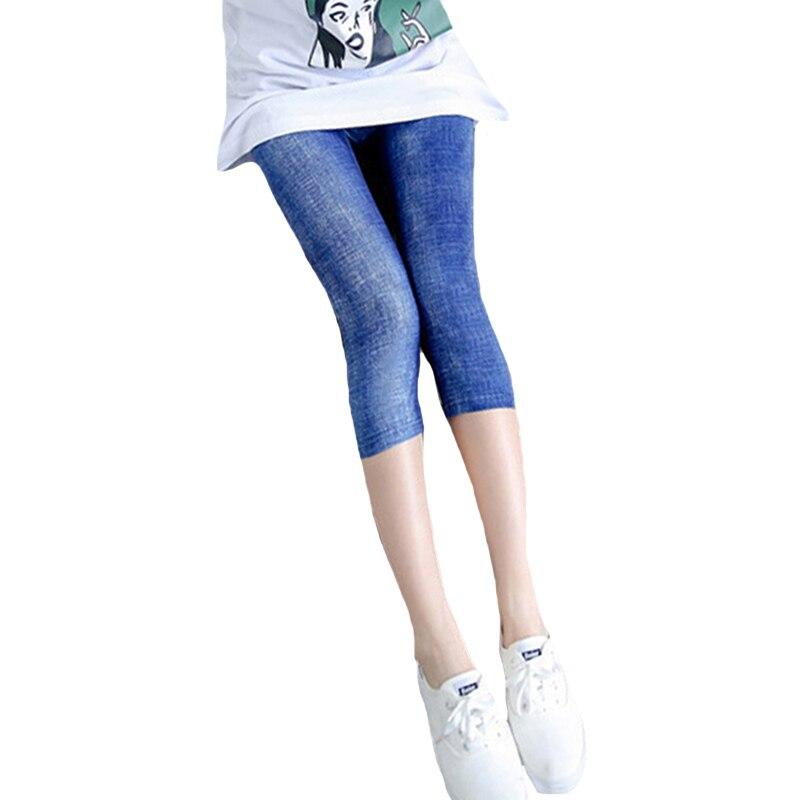 YSDNCHI Short Jeans Leggings For Women High Waist Elastic Denim Pants Imitation Vadim Slim Trousers  Fitness Denim Blue Leggins