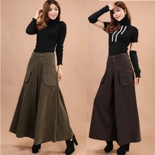 Wide Leg Pants Autumn and Winter Pants Leg Wide Thickening Casual Pants Plus Size Culottes Women Feet Wide trouser