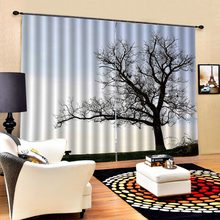 big tree curtains 3D Curtain Luxury Blackout Window Curtain Living Room Blackout curtain(China)