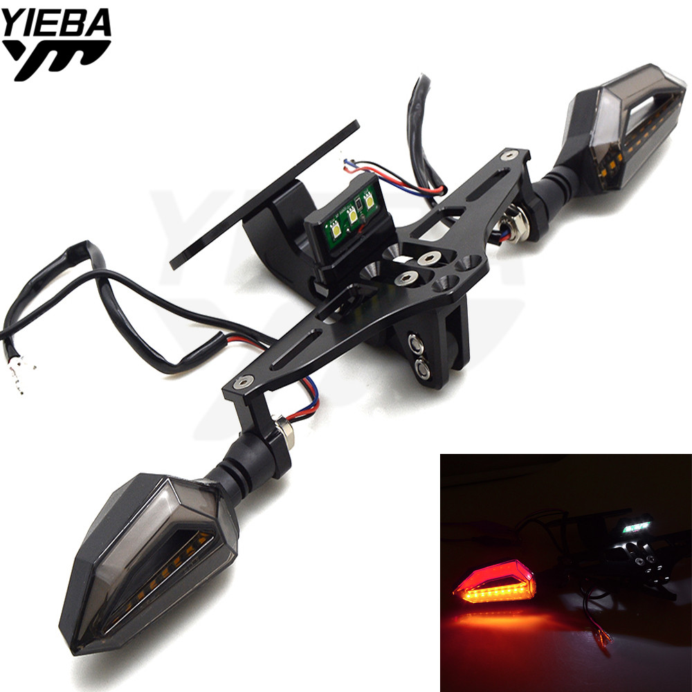 Motorcycle License Plate Bracket Licence Plate Holder With Turn Light FOR YAMAHA YZFR25 R15 R125 kawasaki z750 Z800 FZ8 FZ1 FZ6R bben g156m 15 6 laptop gaming computer intel i5 6300hq nvidia geforce 940mx 8g ram 256g ssd hdd optional home activated win10