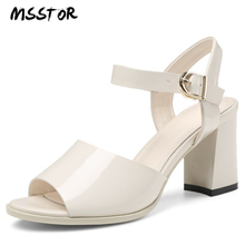 MSSTOR Peep Toe High Heels Sandals Women Plus Size 34-43 Off White Fashion Square Heel Summer Shoes Patent Leather Ladies Sandal