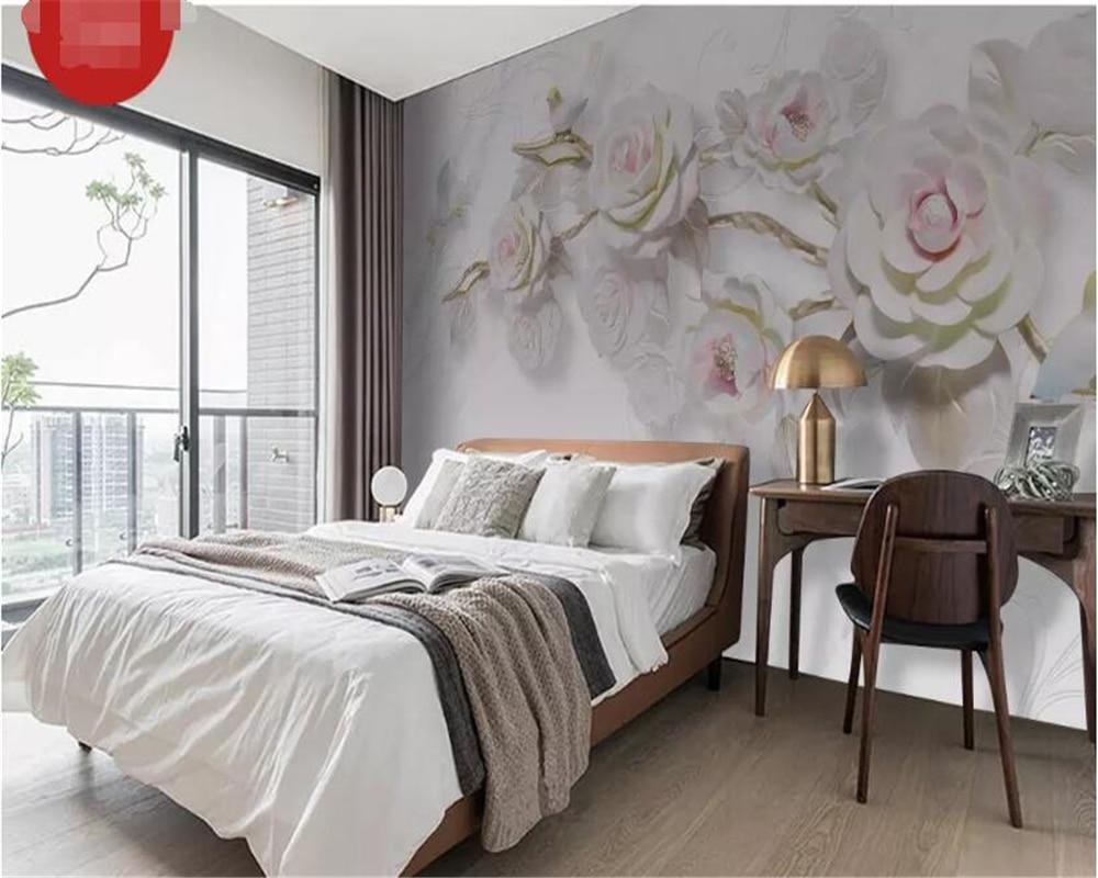 Купить с кэшбэком beibehang Custom 3D embossed rose bird marble background wall decorative painting papel de parede hudas beauty behang