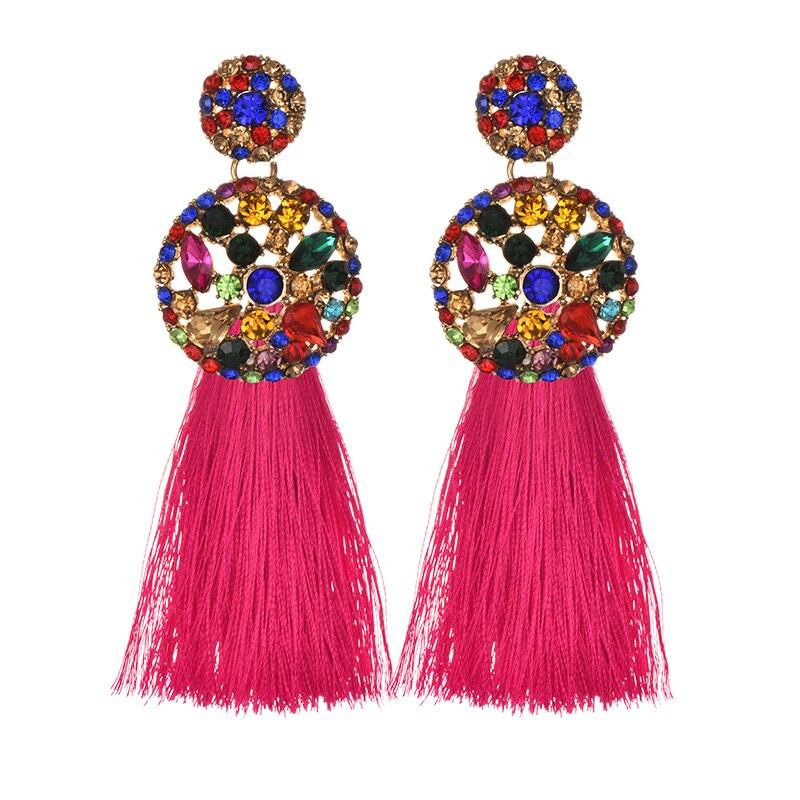 ZHINI Long Yellow Tassel Earrings Crystal Rhinestone korean Vintage Red Big Flower Stud Earrings For Women Christmas earrings