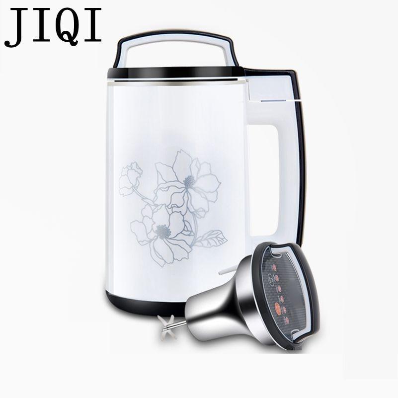 JIQI 110V Soymilk machine household Soya-bean Milk Maker filter-free soybean Milk machine Stainless Steel Juicer Blender US 1.5L hand soymilk soybean milk machine juicer orange transparent