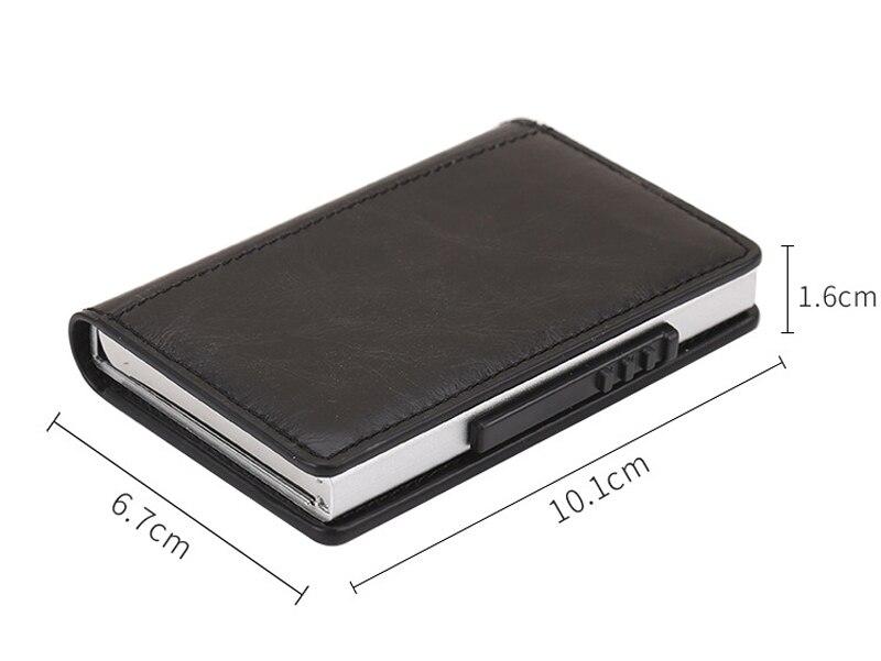PU Leather Credit Card Holder Men Women RFID Metal Card Holder (6)