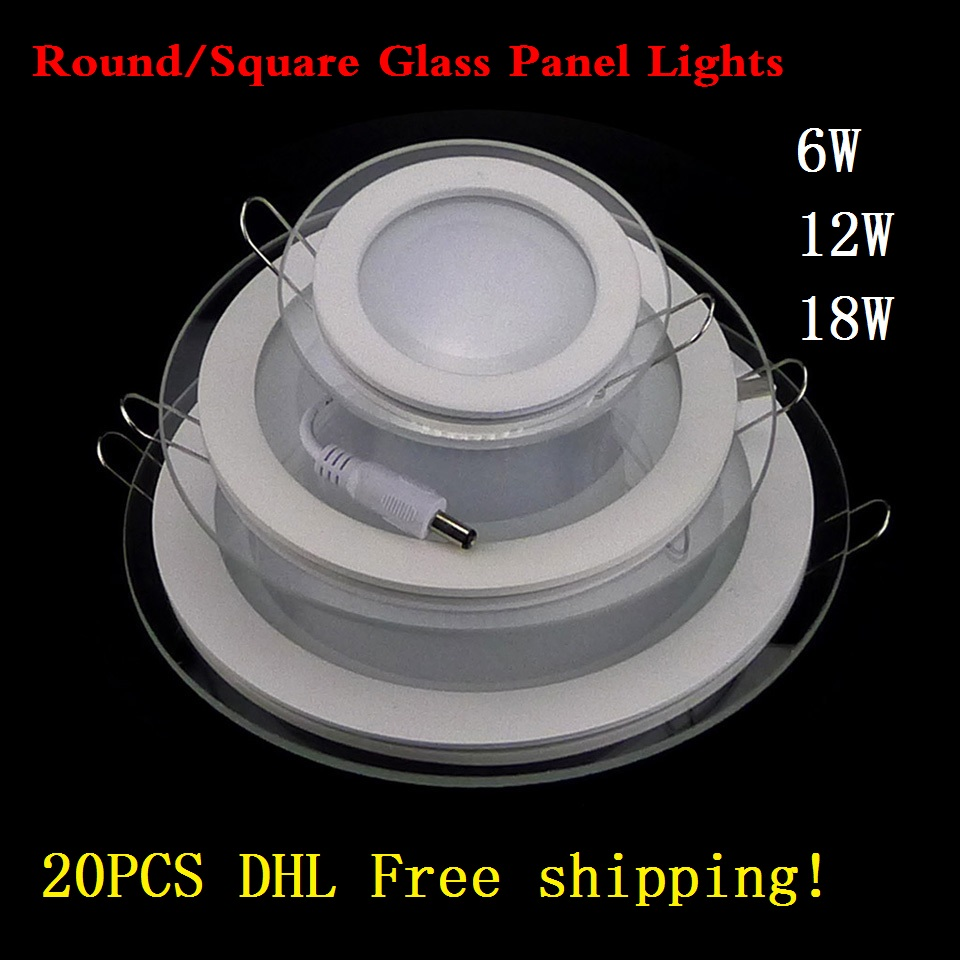 20pcs/lot 6W 12W 18W Led downlights Fixture Round/Square glass anti-fog down light 110-240V Led panel Lights Cool/Warm White