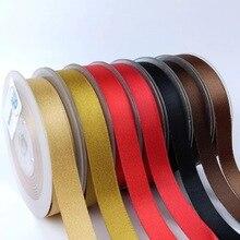 Сатиновая лента золотого цвета, 9 мм, 16 мм, 25 мм, 38 мм, двусторонняя, для украшения свадебных тортов, конфет, для упаковки тортов, 100 ярдов в партии, P268