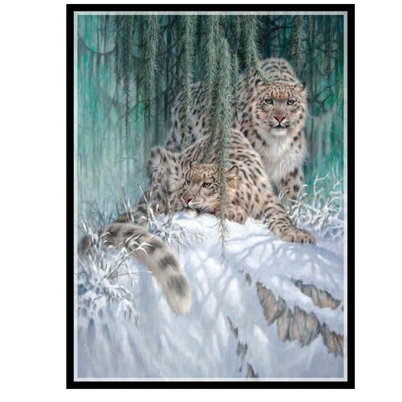 الذهبي panno ، الإبرة ، diy dmc صليب غرزة ، مجموعات للتطريز عدة 14ct خيط القطن الثلوج الفهود عبر خياطة-في حزمة من المنزل والحديقة على  مجموعة 1