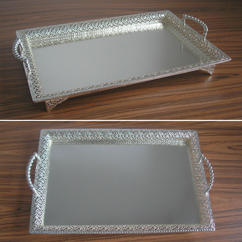 19 5x13 5 Large Rectangle Silver Plated Alloy Metal Serving Tray Fruit Dish Decorative Storage Fl Cut Out Handle 320l In Desk Set From Office