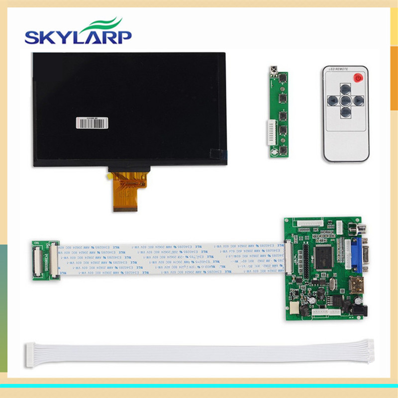 skylarpu 1024*600 IPS Screen Display LCD TFT Monitor EJ070NA-01J with Remote Driver Control Board 2AV HDMI VGA for Raspberry Pi skylarpu hdmi vga control driver board 7inch at070tn90 800x480 lcd display touch screen for raspberry pi free shipping