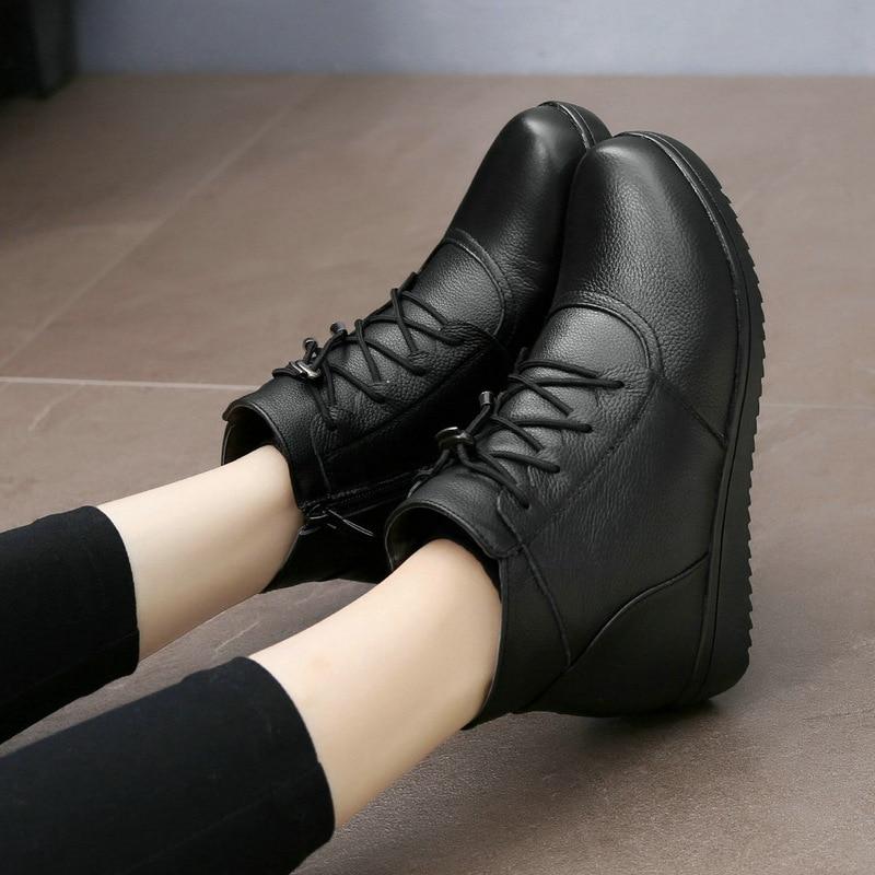 08822bf3f Negro Nieve Caliente Mujer Botas Tamaño Botines Una Zapatos Nueva Genuino  Cuero Mujeres Piel 2018 Planos De Invierno Gran Lana wxS0OcHq