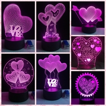 2019 I LOVE YOU Sweet Lover Heart Balloon 3D LED USB Lamp Romantic Decor 7 Color Luster Night Light Girlfriend Gift Mother's Day