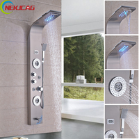 Wall Mounted Thermostatic LED Rain Waterfall Shower Panel Body Massage Jets Tower Shower Column Faucet with Handshower