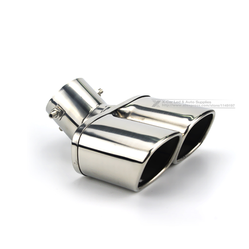 Image 3 - Car Auto Round Exhaust Muffler Tip Stainless Steel Exhause 1 to 2 Dual Pipe Chrome Trim Modified Car Rear Tail Throat Liner-in Mufflers from Automobiles & Motorcycles