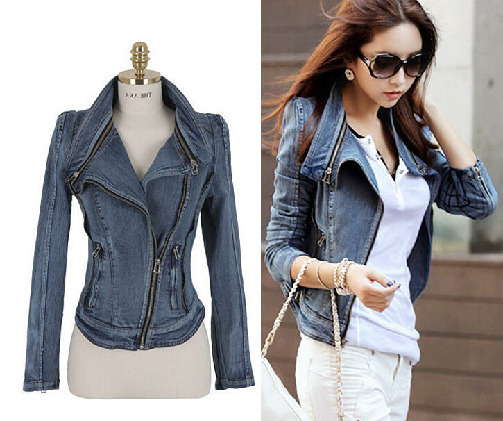 Fast Shipping Fashion Womens Vintage Denim Jean Slim Fit Lapel Zip Short Jacket Tops   Coat   Size S M L Xl Ss -W26