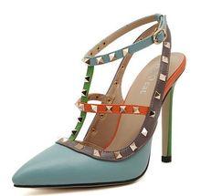 ขนาด4 ~ 9 Rivetsรองเท้าส้นสูงผู้หญิงปั๊มพังก์ฤดูร้อนสีแดงผู้หญิงรองเท้าs zapatos mujer