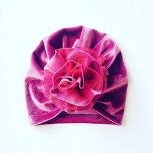 2018 Child Flower Hat Cap Youngsters Velvet Cap Winter Boy Women Princess Beanie Hats Kids Toddlers Turban Hats Beanie Accent