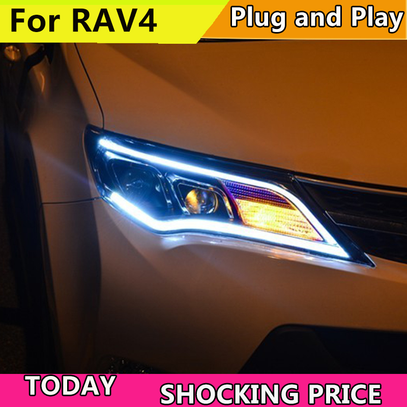 Car Styling for Toyota RAV4 LED Headlights 2013-2015 New RAV 4 Headlight DRL Bi Xenon Lens High Low Beam Parking Fog Head Front