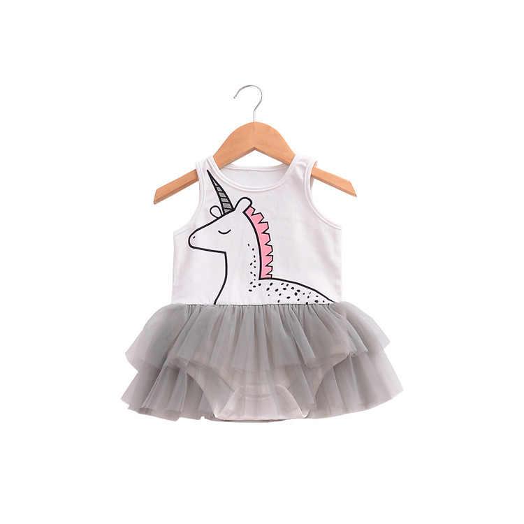 Модные летние девочки без рукавов комбинезон детская одежда с рисунком из мультфильма Единорог узор платье Детская один штук для 1-4Age сетки одежда