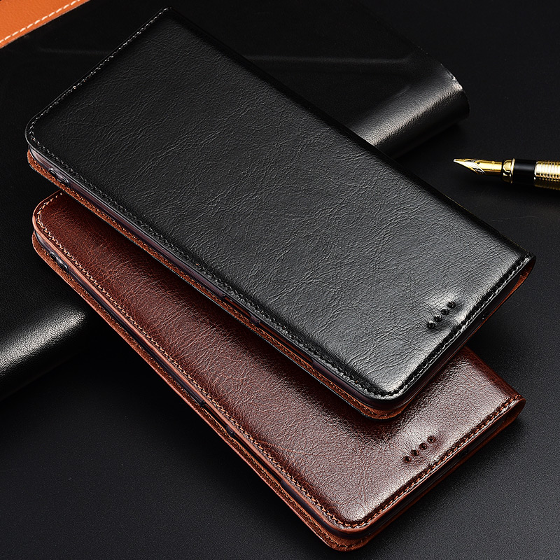 Genuine Cow Leather Case For ZTE AXON 7 7S 9 10 Pro Mini Max A2017 Magnetic Case Stand Flip Phone Cover
