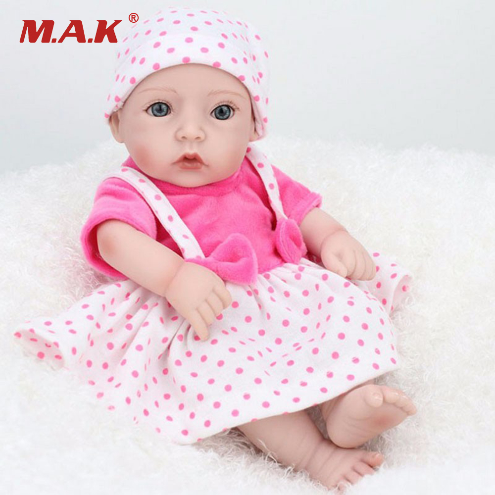 11 Pink Dress Vinyl Silicone Reborn Doll Model Toys Handmade Lifelike Cute Newborn Baby Girl Model   Gifts Collections About 28 pink wool coat doll clothes with belt for 18 american girl doll