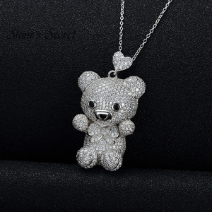 Image 4 - Cute Bear Full of Glittery Cubic Zirconia 925 Sterling Silver Pendant With Chain Best Birthday Gift for Children and Lady