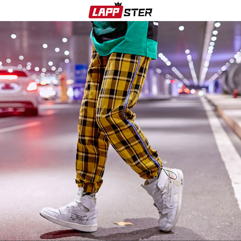 LAPPSTER Men Streetwear Yellow Plaid Joggers Pants 2019 Mens Harajuku Side Striped Hip Hop Harem Pants Japanese Style Sweatpants