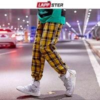 LAPPSTER Men Streetwear Yellow Plaid Joggers Pants 2019 Mens Harajuku Side Striped Hip Hop Harem Pants Japanese Style Sweatpants