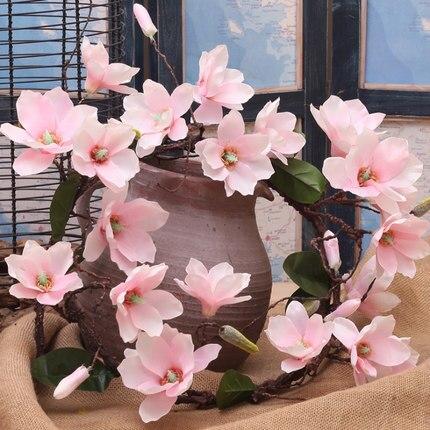 1 pcs Faux Magnolia Fleur De Vigne Vignes de Fleurs De Soie 180 cm Crème/Champagne/Rose Magnolia pour La Maison Mur suspendu Décoratif Fleurs
