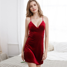 Sexy velvet camisole night dress sleepwear lingerie backless A-line skirt slim bottoming wear women nuisette femme de nuit
