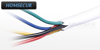 HOMSECUR Round White Flexible Copper Cable for Video Door Phone Intercom System 1 x 15m 5Core