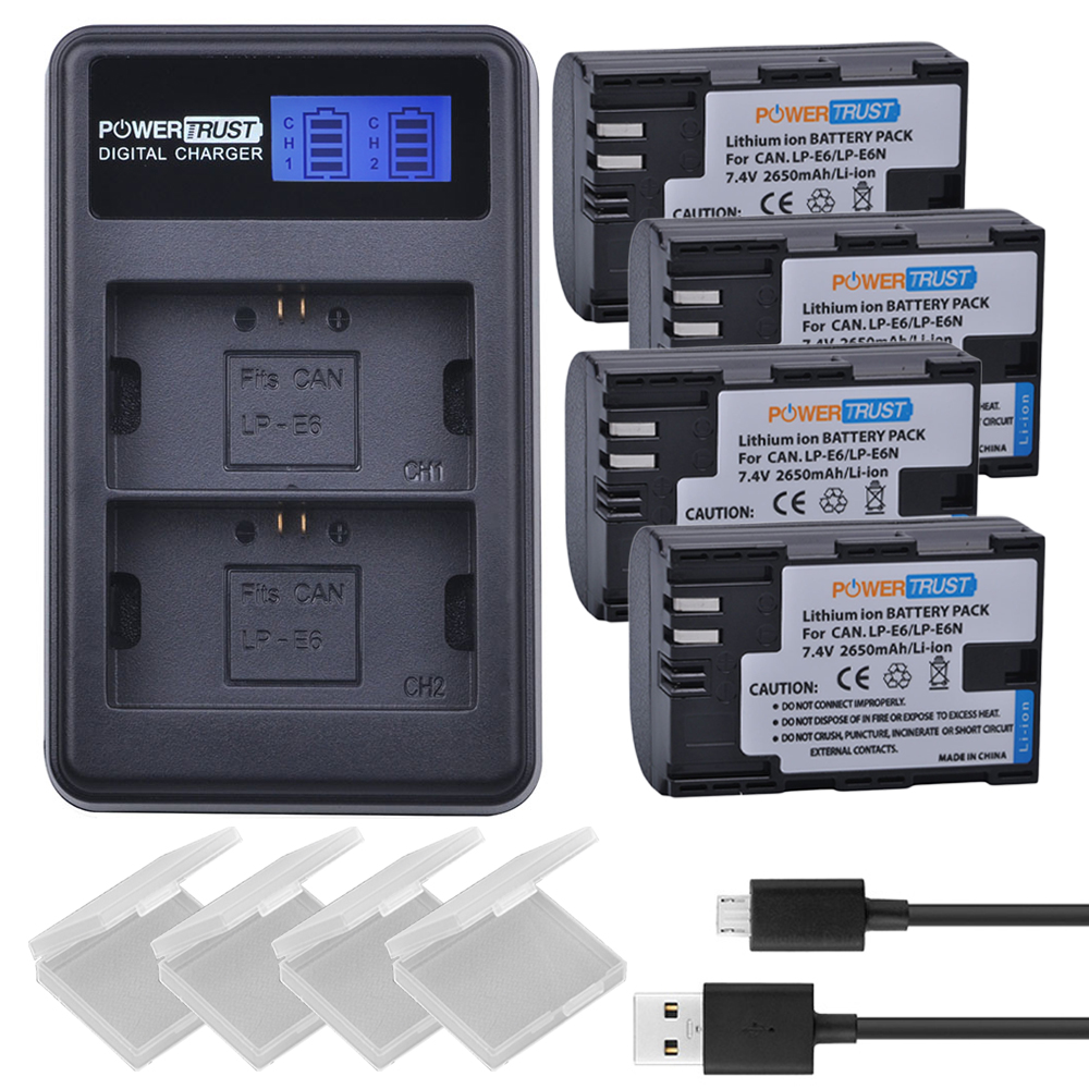 4Pcs <font><b>LP</b></font>&#8211;<font><b>E6</b></font> LPE6 <font><b>LP</b></font> <font><b>E6</b></font> Camera Batteries + LCD USB Dual Channel <font><b>Charger</b></font> for Canon EOS 60D, 70D, 5D Mark II, 5D Mark III, 5D Mark