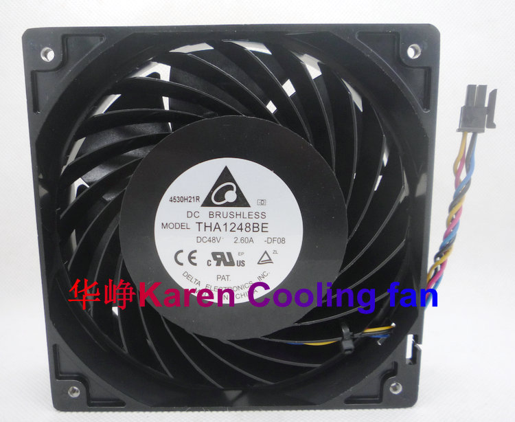 New original DELTA 12cm THA1248BE 12038 48v 2.6a cooling fan original delta afc1212de 12038 12cm 120mm dc 12v 1 6a pwm ball fan thermostat inverter server cooling fan