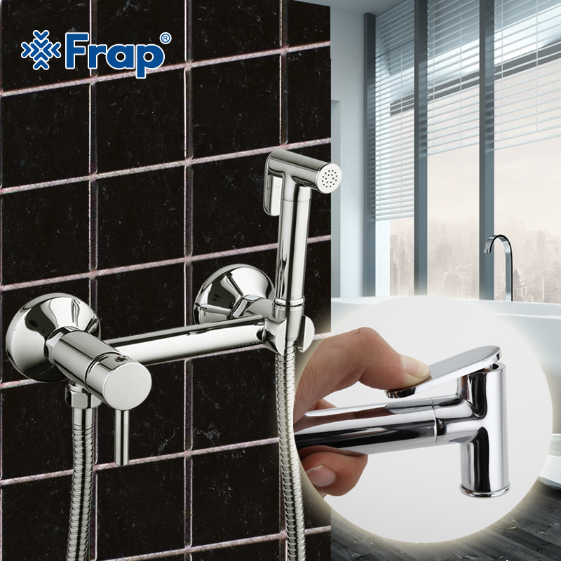 Frap 2017 New Solid Brass Tube Cold and Hot Water Shower Mixer with Bidet Shower Head Single Handle Tap Crane torneiras F7503